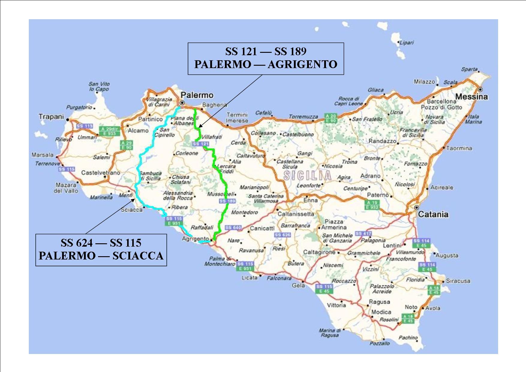 Agrigento Cartina Sicilia.Lavori In Corso Ss121 Palermo Agrigento